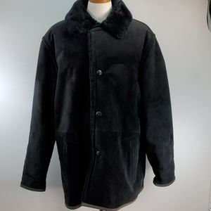 COMSTOCK EXPEDITIONS SUEDE AND FAUX FUR COAT SZ XL